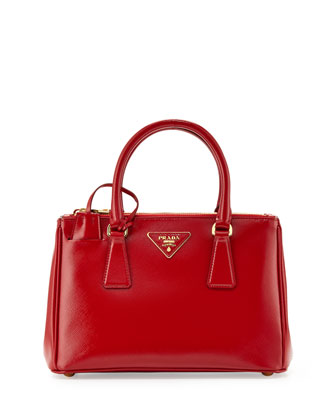 Mini Vernice Saffiano Double-Zip Tote Bag, Red (Rosso)