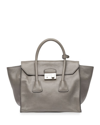 Glace Calf Large Twin-Pocket Flap Bag, Gray (Marmo)
