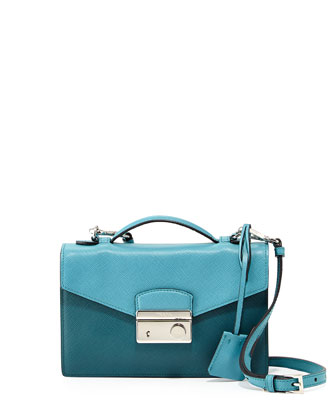 Saffiano Bicolor Small Flap Crossbody Bag, Turquoise