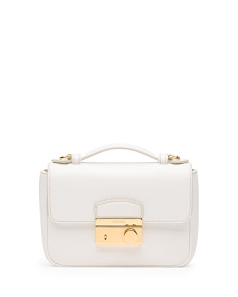 Saffiano Mini Sound Crossbody Bag, White (Bianco)