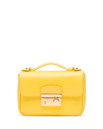 Saffiano Mini Sound Crossbody Bag, Yellow (Girasole)