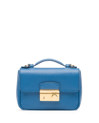 Saffiano Mini Sound Crossbody Bag, Blue (Cobalto)