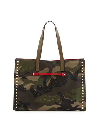 Camouflage Medium Soft Square Tote Bag