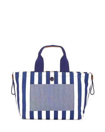 Striped Summer Tote, Deep Ultraviolet