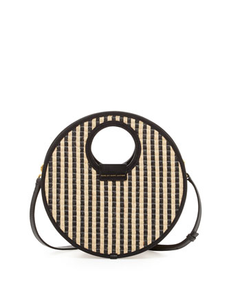 Isle De Sea Crossbody Basket Bag, Black Stripe