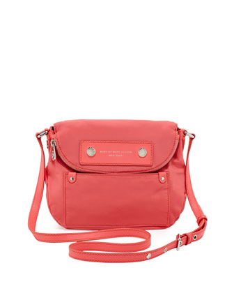 Preppy Nylon Natasha Crossbody Bag, Bright Coral