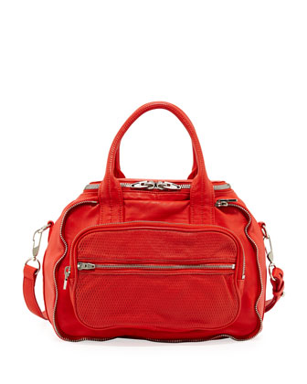 Eugene 3D Leather-Mesh Satchel, Cola