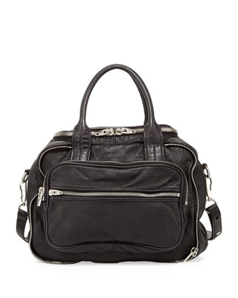Eugene 3D Leather-Mesh Satchel, Black