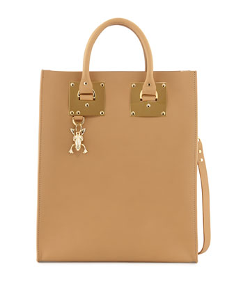 Mini Buckled Leather Tote Bag, Camel