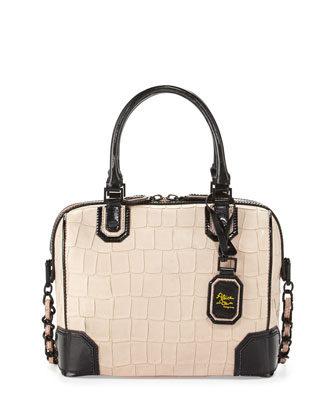 Olivia Croc-Embossed Bag, Peach