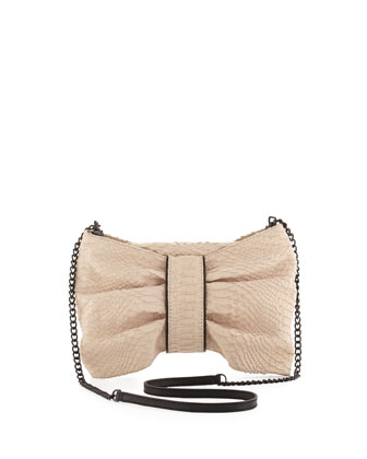 Snake-Print Leather Bow Bag, Bone