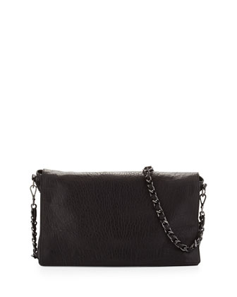 Scarlet Crossbody Leather Satchel Bag, Black