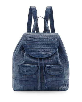 Crocodile Drawstring Backpack, Blue