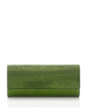 Ritz Fizz Crystal Clutch Bag, Silver Fern Green