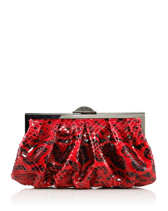 Natalie Anaconda Clutch Bag, Red/Black
