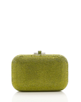 Crystal Slide-Lock Clutch Bag, Olivine