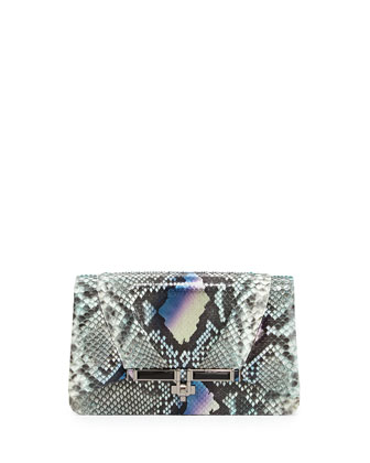 Priscilla Python Fold-Over Clutch Bag