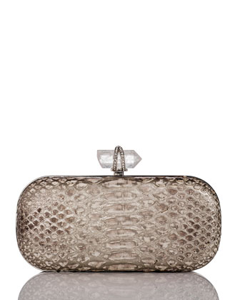 Lily Medium Python Oval Box Clutch, Silver