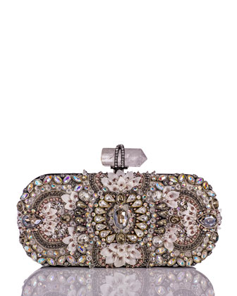 Lily Medium Embroidered Oval Clutch, Black