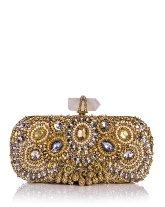 Lily Medium Embroidered Crystal Clutch, Gold