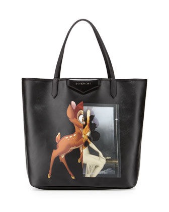 Antigona Medium Leather Shopping Tote, Bambi Print