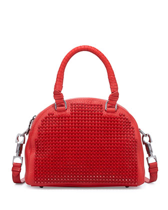 Panettone Small Spiked Satchel Bag, Red