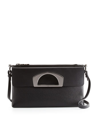 Passage Pebbled Calfskin Large Fold-Over Bag, Black