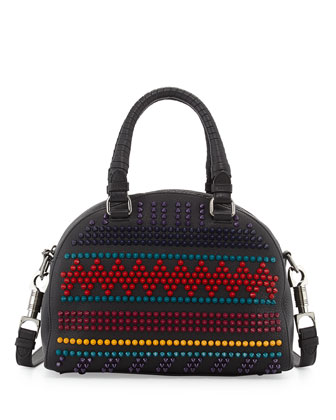 Panettone Small Spiked Chevron Satchel Bag, Black Multi