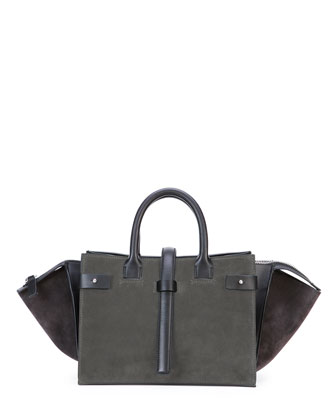 Parigi Bicolor Suede Duffel Bag, Gray/Black