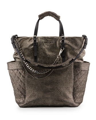 Blare Crackled Metallic Tote Bag, Silver