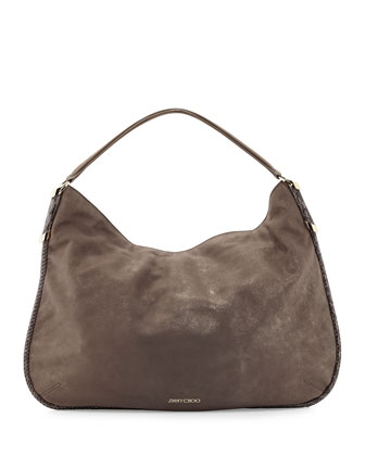 Zoe Medium Suede Hobo Bag, Champagne
