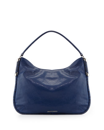 Zoe Medium Leather Hobo Bag, Cobalt
