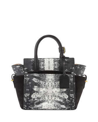 Atlantique Mini Snake-Print Tote Bag, Black/White