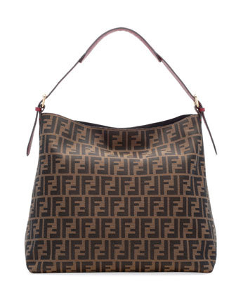 Zucca-Print Large Canvas Hobo Bag, Brown/Red
