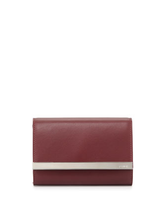 Rush Mini Leather Clutch Bag, Burgundy