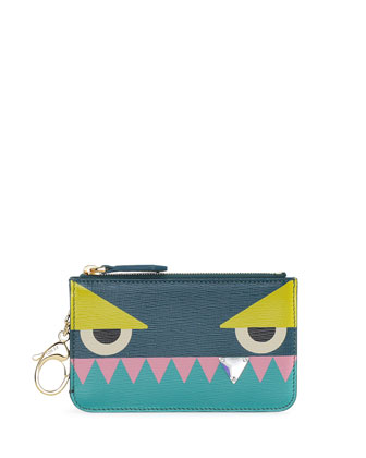 Monster Diamond-Tooth Key Clip Coin Pouch, Aqua