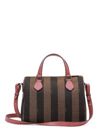Pequin Stripe Small Boston Bag, Tobacco