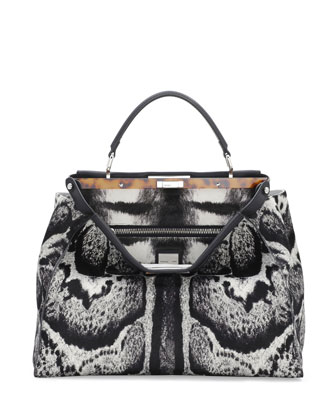 Peekaboo Large Calf Hair Satchel Bag, White/Black