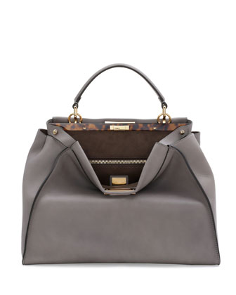 Peekaboo Large Leather Satchel Bag, Light Gray