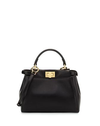 Peekaboo Mini Leather Satchel Bag, Black