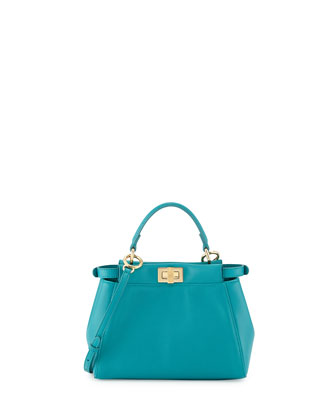 Peekaboo Mini Leather Satchel Bag, Aqua