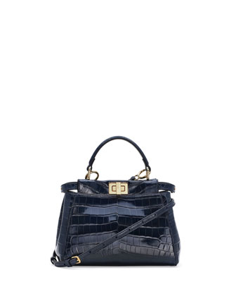 Peekaboo Alligator Mini Satchel Bag, Navy
