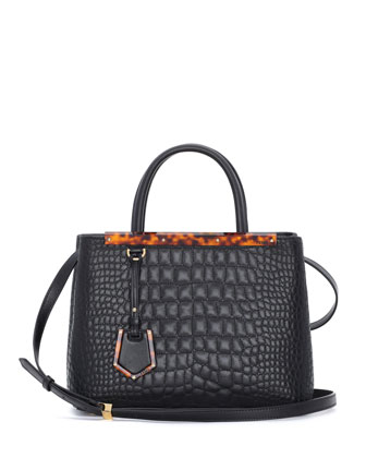2Jours Petit Croc-Stitched Shopping Tote Bag, Black