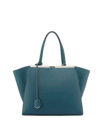 Trios-Jour Saffiano Leather Shopping Tote, Teal