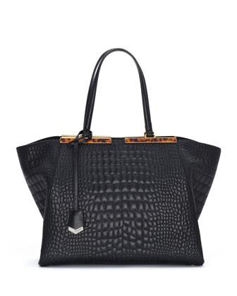 Trois-Jour Croc-Stitched Tote Bag, Black