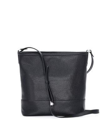 Small Madras Leather Bucket Bag, Black