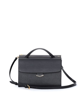 Demi-Jour Saffiano Shoulder Bag, Black