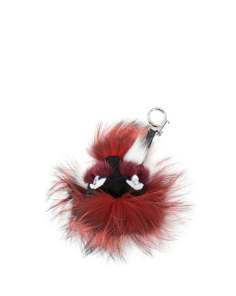 Crystal-Eyed Fur Monster Charm for Handbag, Bordeaux Multi