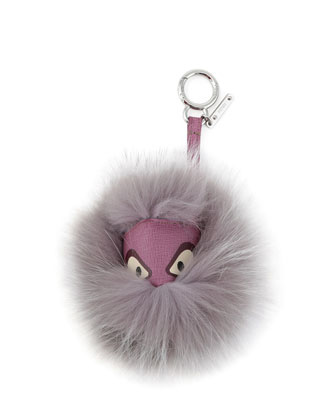 Mini Fur Monster Charm for Handbag, Lilac Multi