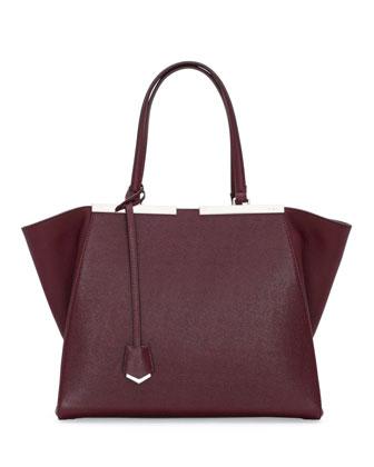 Trois-Jour Saffiano Shopping Tote Bag, Bordeaux